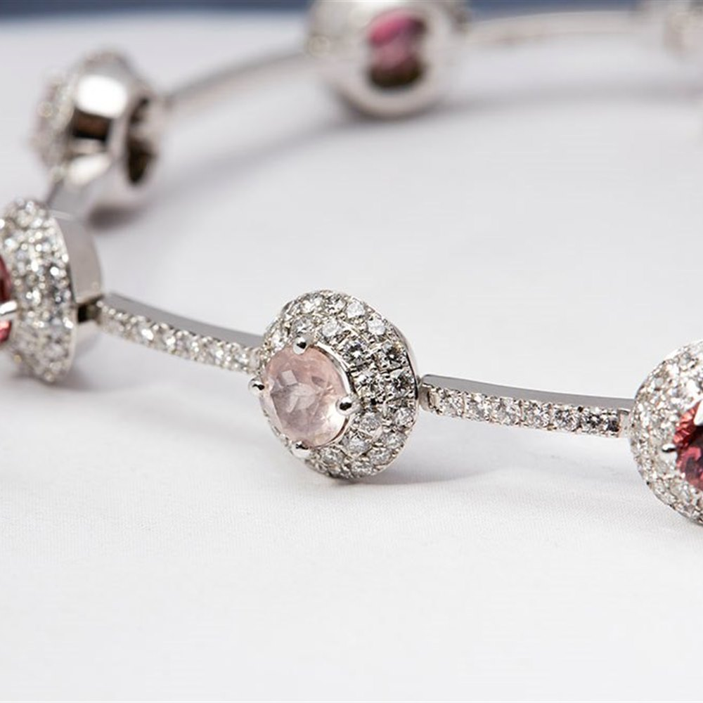 Mappin & Webb 18k White Gold Rubellite, Rose Quartz & Diamond Bracelet