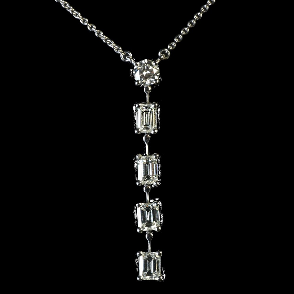 Mappin & Webb Platinum 6 Stone Gvs Diamonds Pendant Necklace