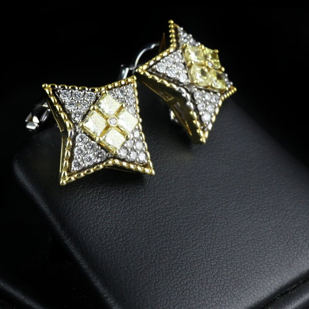 Mappin & Webb 18K White/Yellow Gold White/Fancy Yellow Diamond Star Earrings