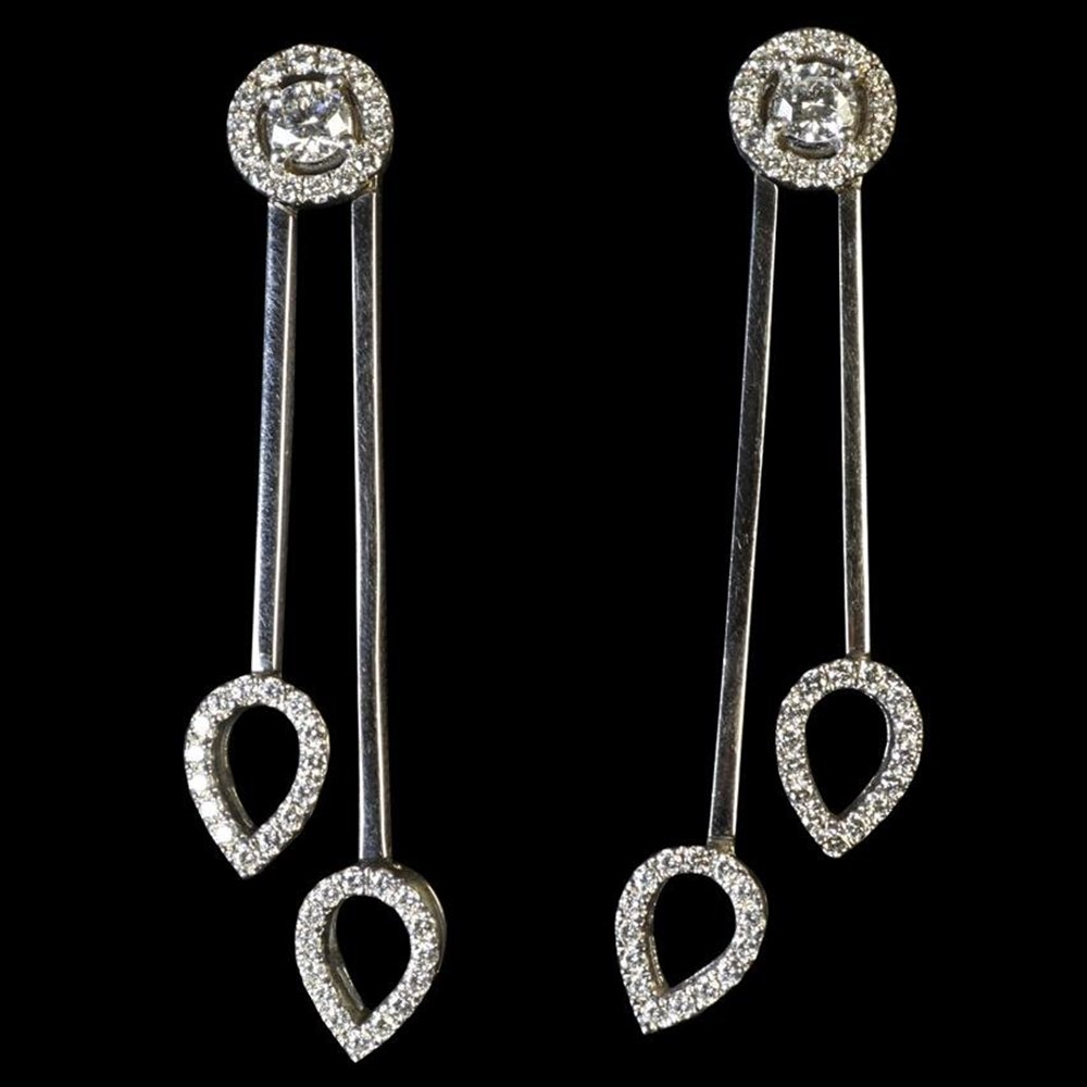 Mappin & Webb 18K White Gold Bar Diamond Drop Earrings