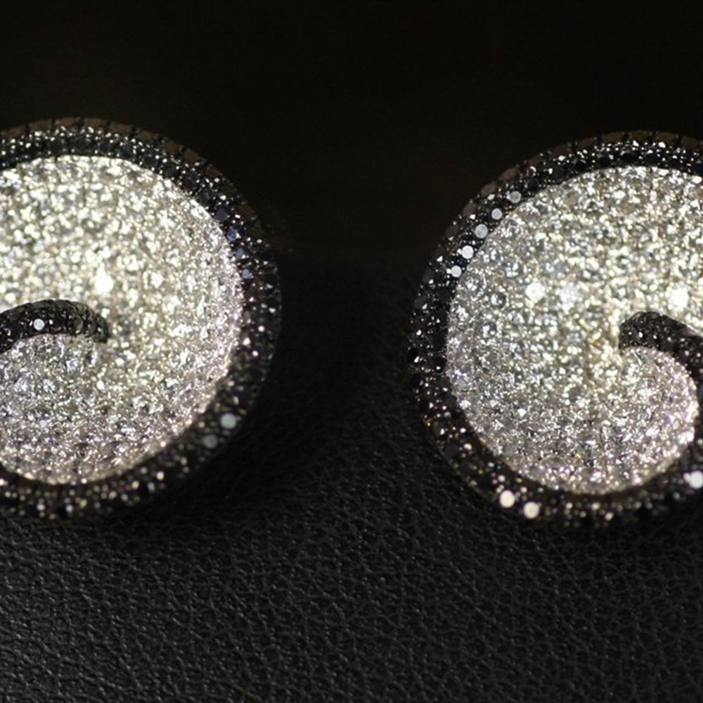 Mappin & Webb 18K White Gold Paved Story Gvs Black & White Diamond Earrings