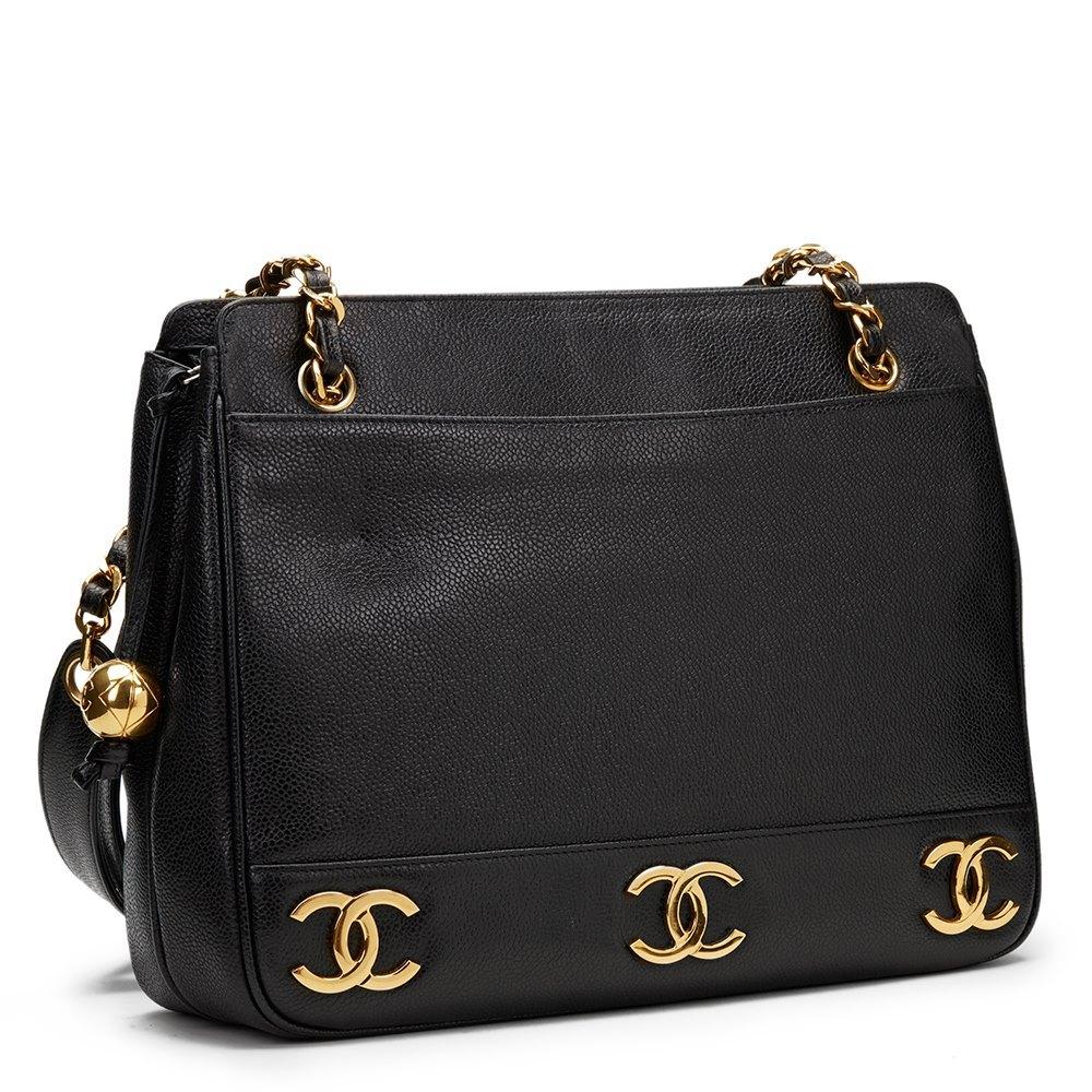 b8feb94cb64ba6 Chanel Logo Trim Shoulder Bag 1995 HB1148 | Second Hand Handbags