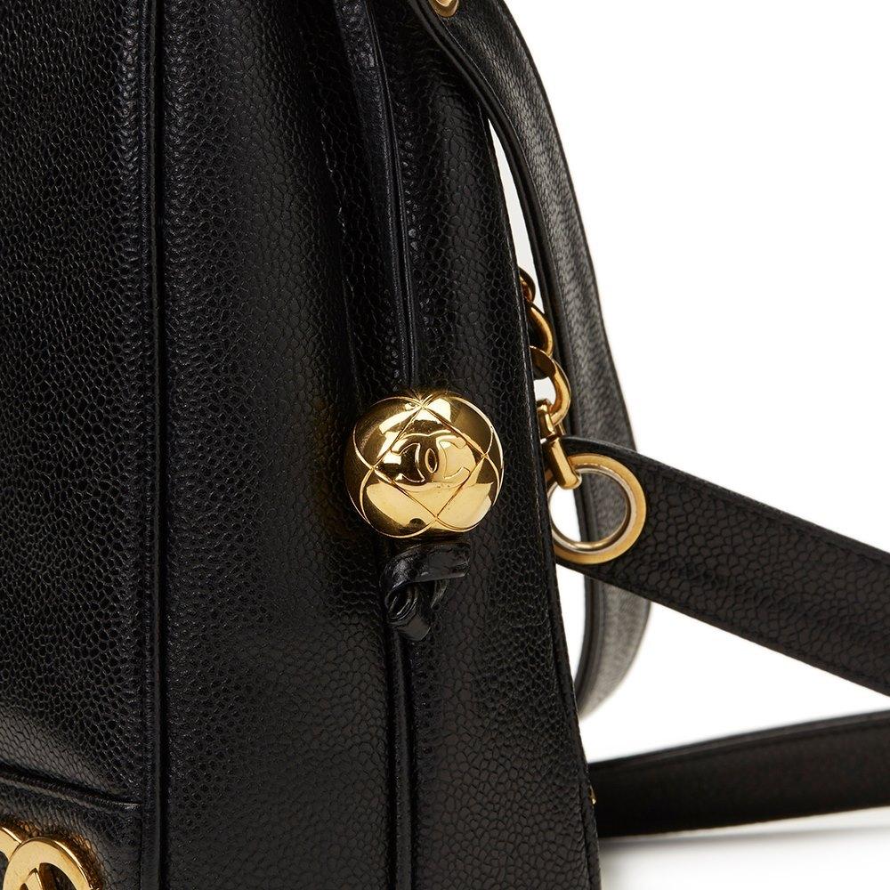 Chanel Black Caviar Leather Vintage Logo Trim Shoulder Bag