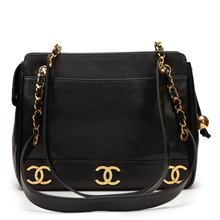Chanel Black Caviar Leather Vintage Logo Trim Shoulder Bag