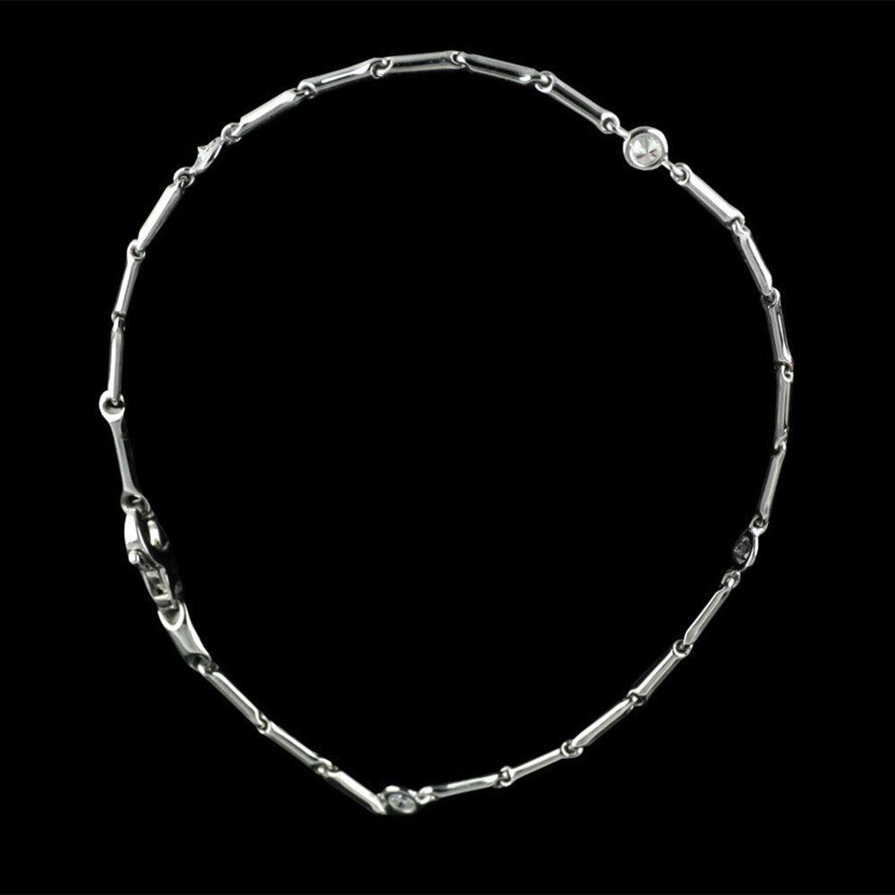 Chimento 18K White Gold Bamboo Diamond Bracelet