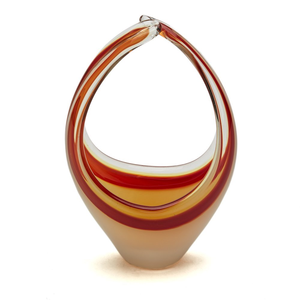 VINTAGE MURANO RED BASKET SHAPED ART GLASS SCULPTURE 20TH C. Circa 1960