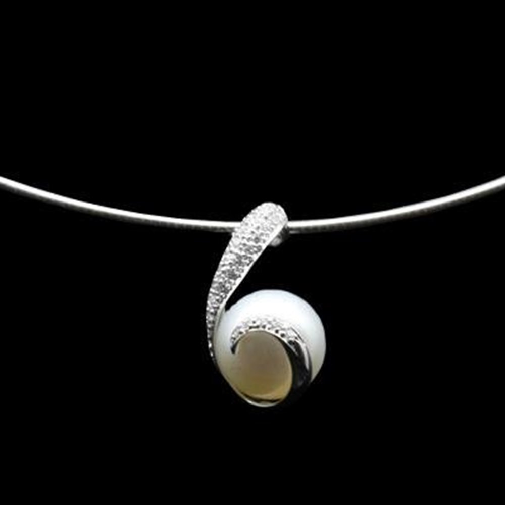 Mikimoto 18K White Gold Rhapsody Natural Pearl & Diamond Pendant Necklace