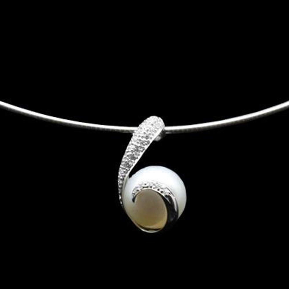Mikimoto 18K White Gold Rhapsody Natural Pearl & Diamond Pendant Necklace