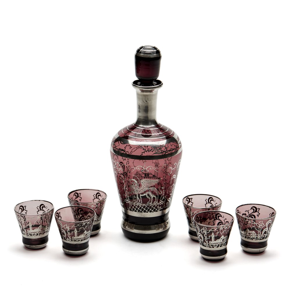 VINTAGE VENETIAN MURANO SILVER OVERLAY GLASS LIQUER SET 20TH C. Early to mid 20th century