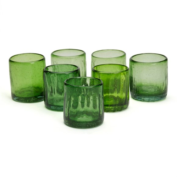 SET SEVEN VINTAGE/ANTIQUE RUSTIC GREEN GLASS TUMBLERS