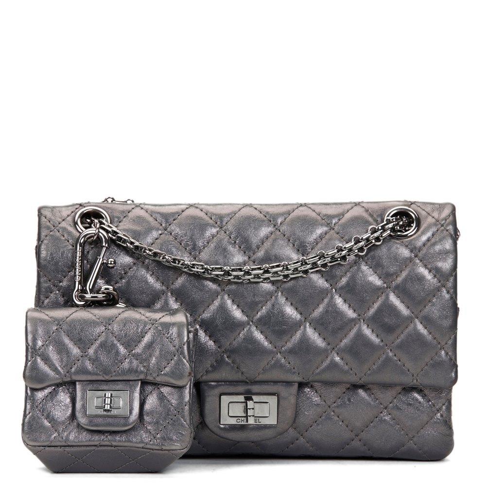 90676fff5383 Chanel Dark Silver Aged Calfskin 2.55 Reissue 225 Double Flap Bag with Charm