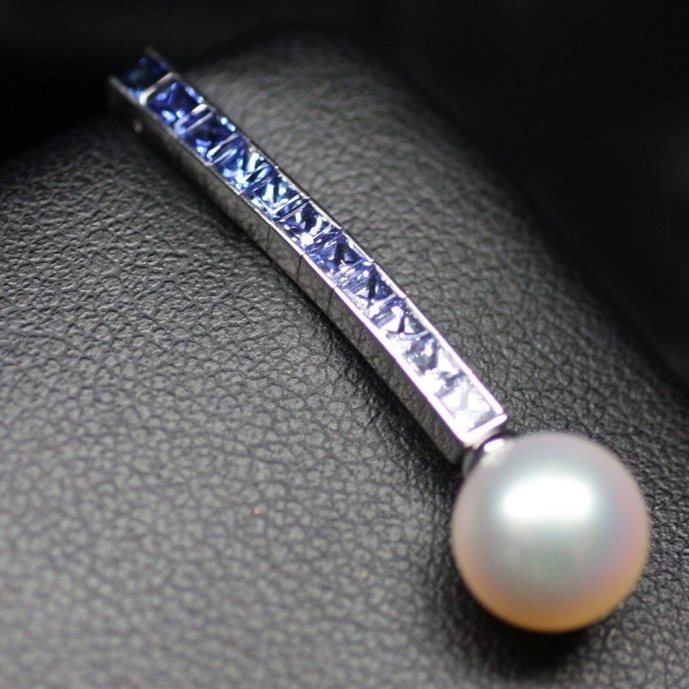 Mikimoto Mikimoto 18K White Gold Ocean & Fire Graduated Blue/White Sapphire & Pearl Earrings