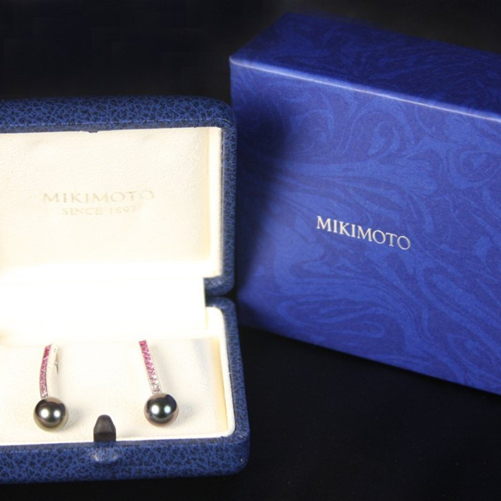 Mikimoto Mikimoto 18K White Gold Ocean & Fire Graduated Pink/White Sapphire & Pearl Earrings