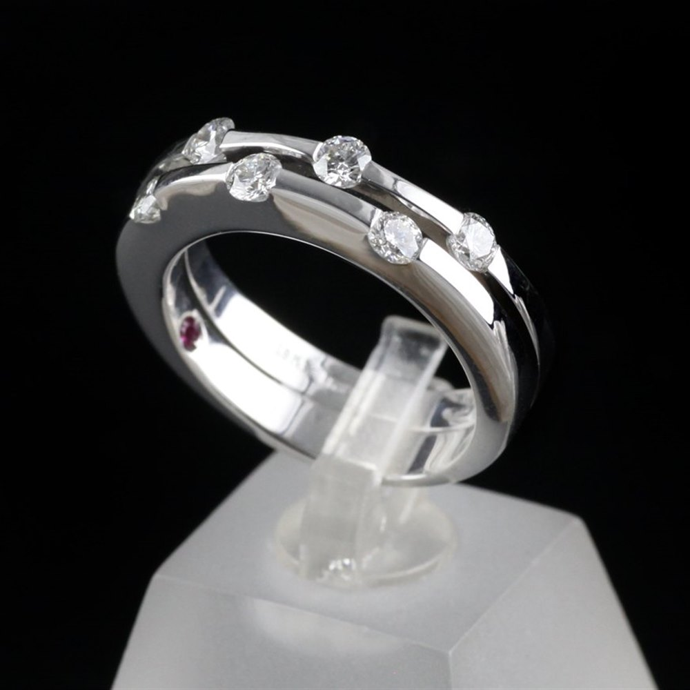 Roberto Coin Classica Parisienne 18K White Gold Diamond Ring