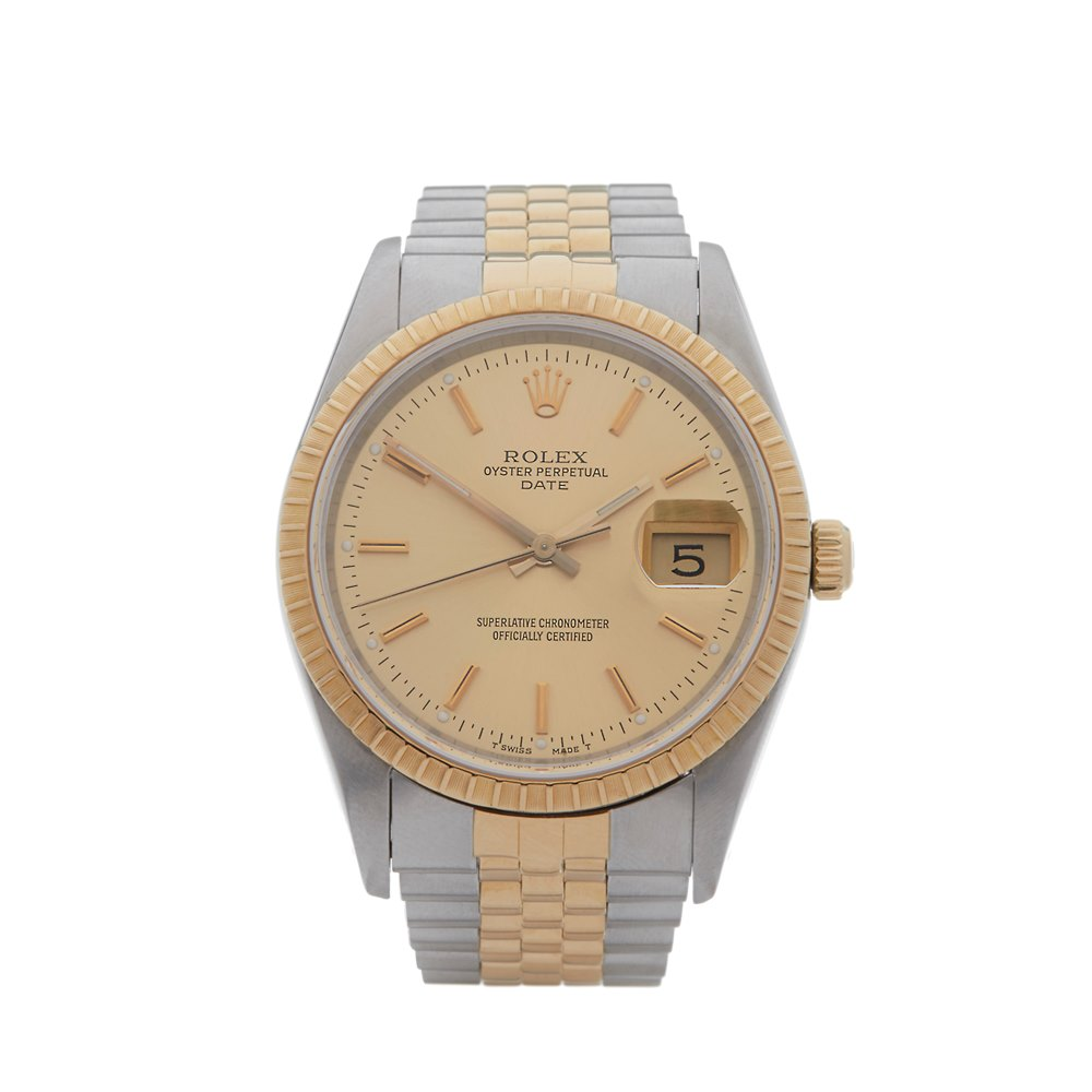 32226a51e6b Rolex Oyster Perpetual Date Stainless Steel   18k Yellow Gold 15233
