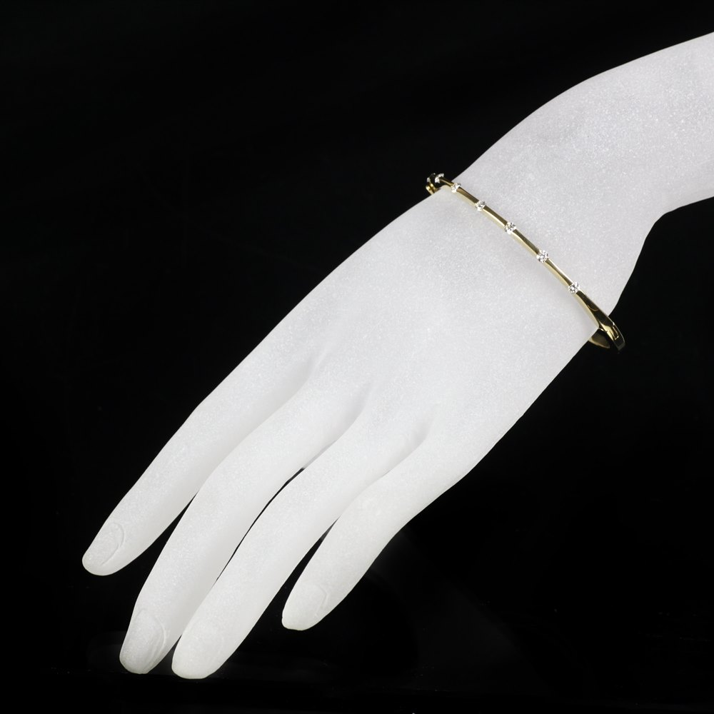 Mappin & Webb Roberto Coin Classica Parisienne 18K Yellow Gold 1 Row Diamond Bangle Bracelet