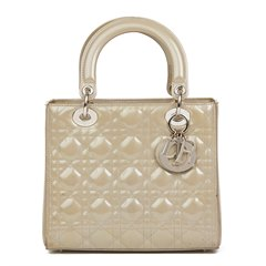 Christian Dior Grey Pearlized Quilted Patent Leather Medium Lady Dior