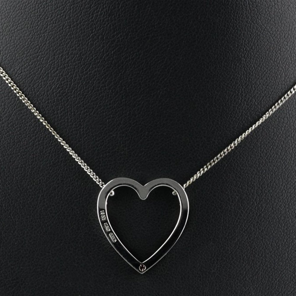 Roberto Coin Classica Parisienne 18K White Gold Diamond Heart Pendant