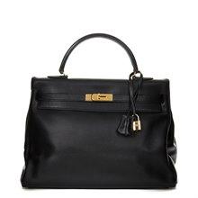 Hermès Black Evergrain Leather Vintage Kelly 35cm Retourne