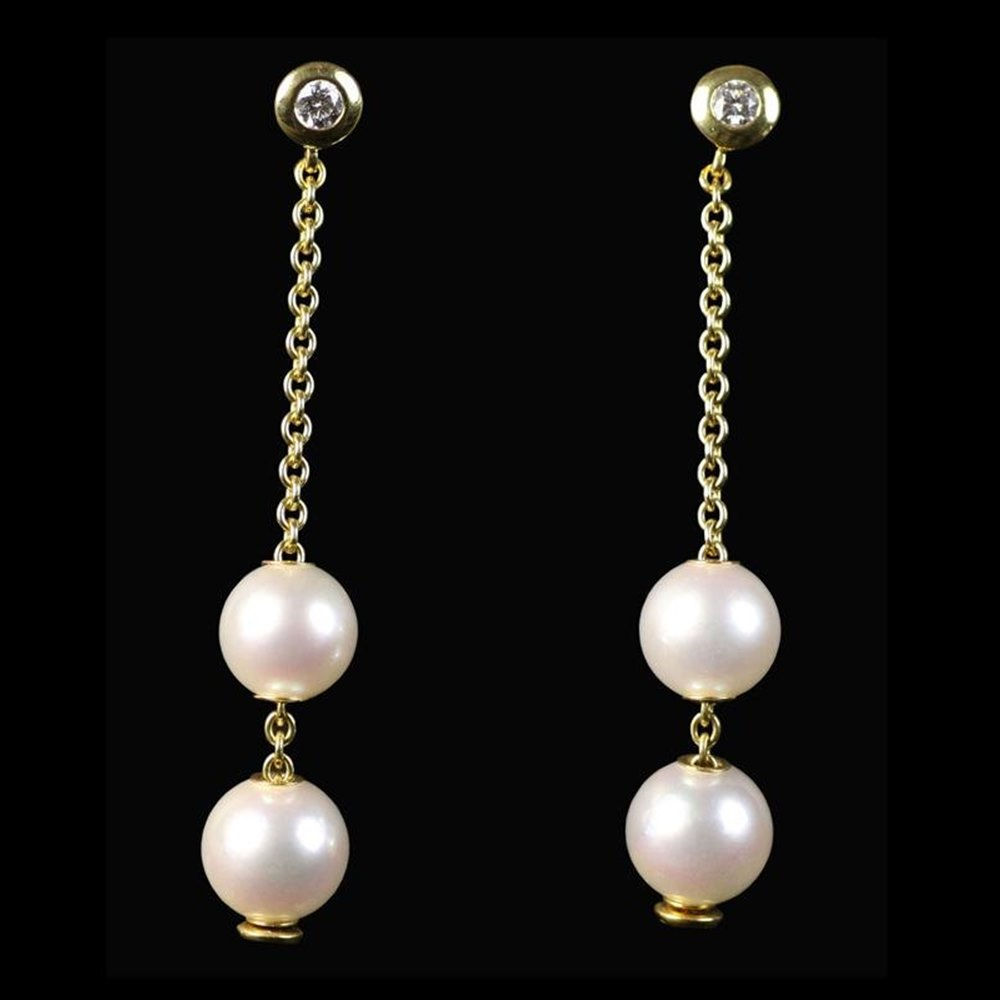 Mikimoto Mikimoto 18K Yellow Gold Pearls In Motion Diamond Earrings
