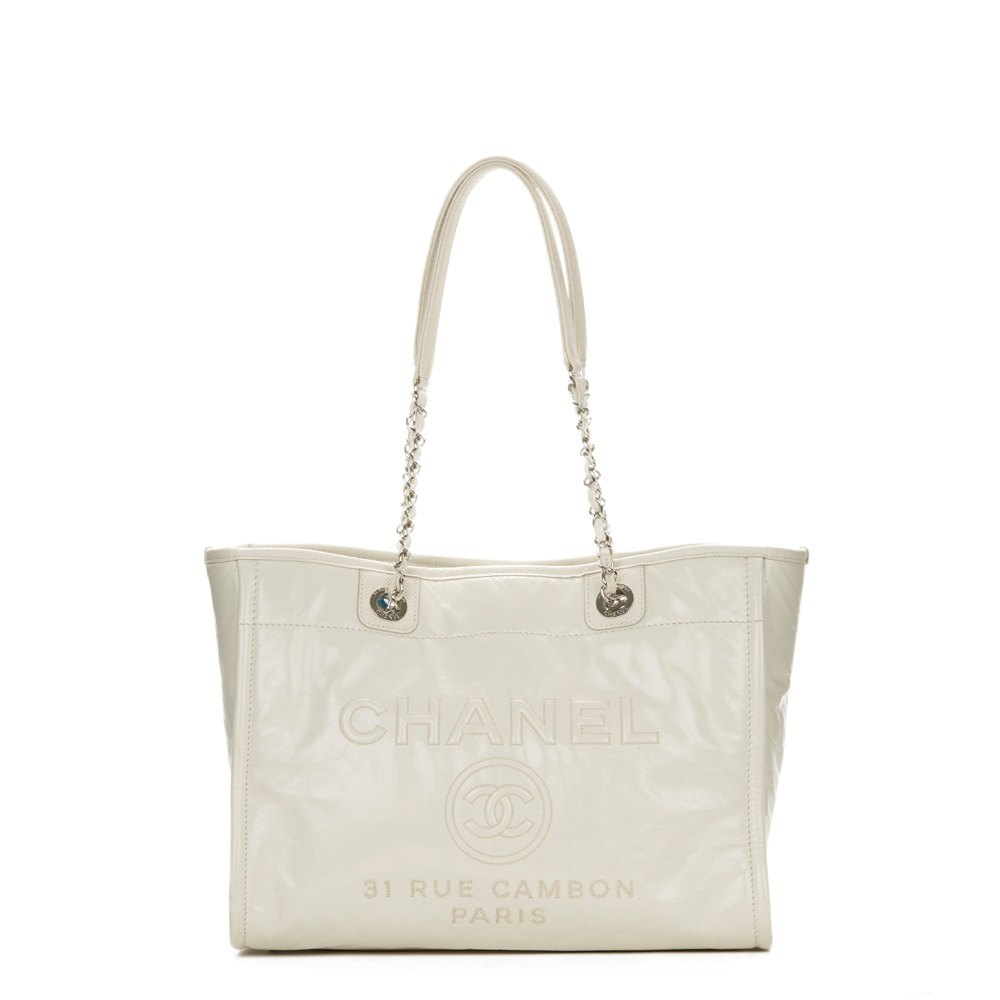 a478b485d21a Chanel White Glazed Leather & Caviar Leather Small Deauville Tote