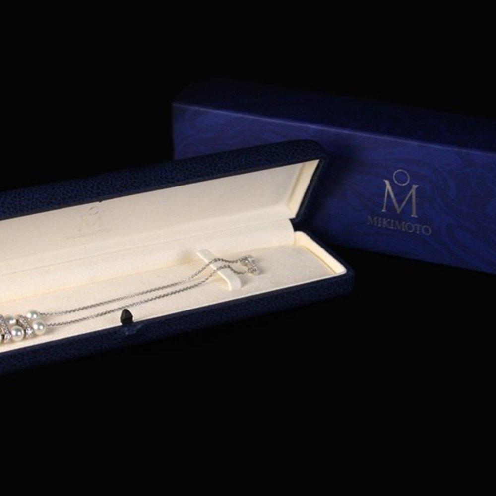 Mikimoto 18K White Gold Diamond Pearl Bracelet