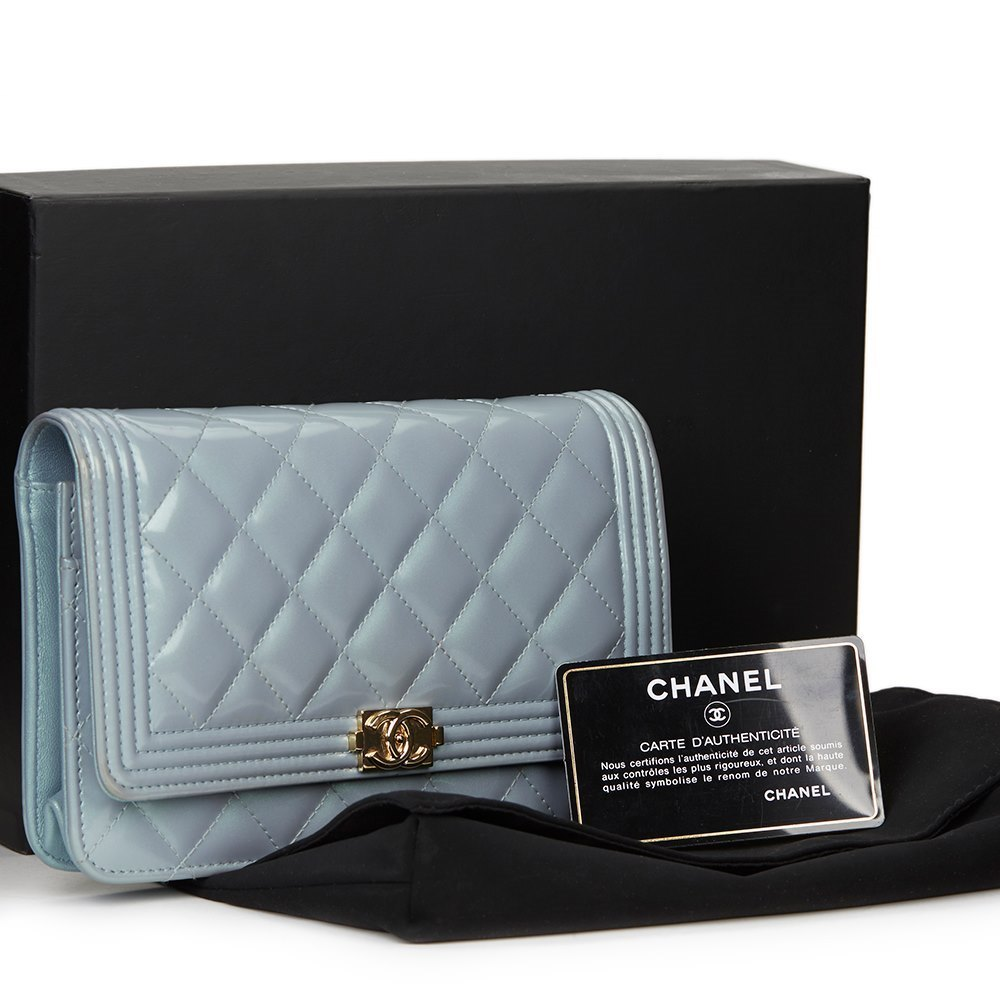 986d6199bf7a2d Chanel Blue Quilted Iridescent Calfskin Boy Wallet-on-Chain WOC