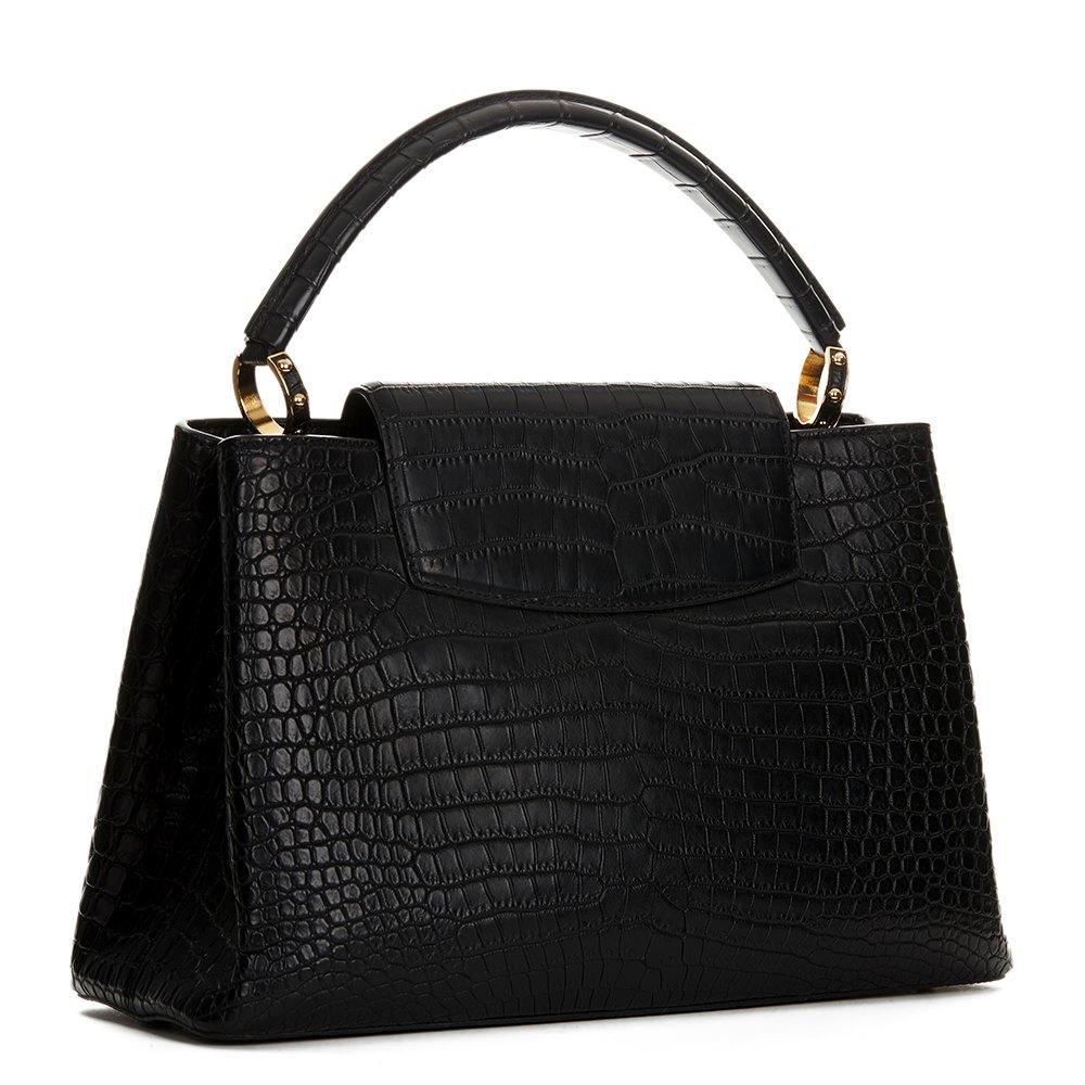 Louis Vuitton Black Matte Porosus Crocodile Leather Capucines MM
