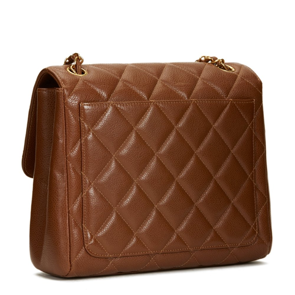 6378e3e5bee1 Chanel Chocolate Brown Quilted Caviar Leather Vintage Single Flap Bag