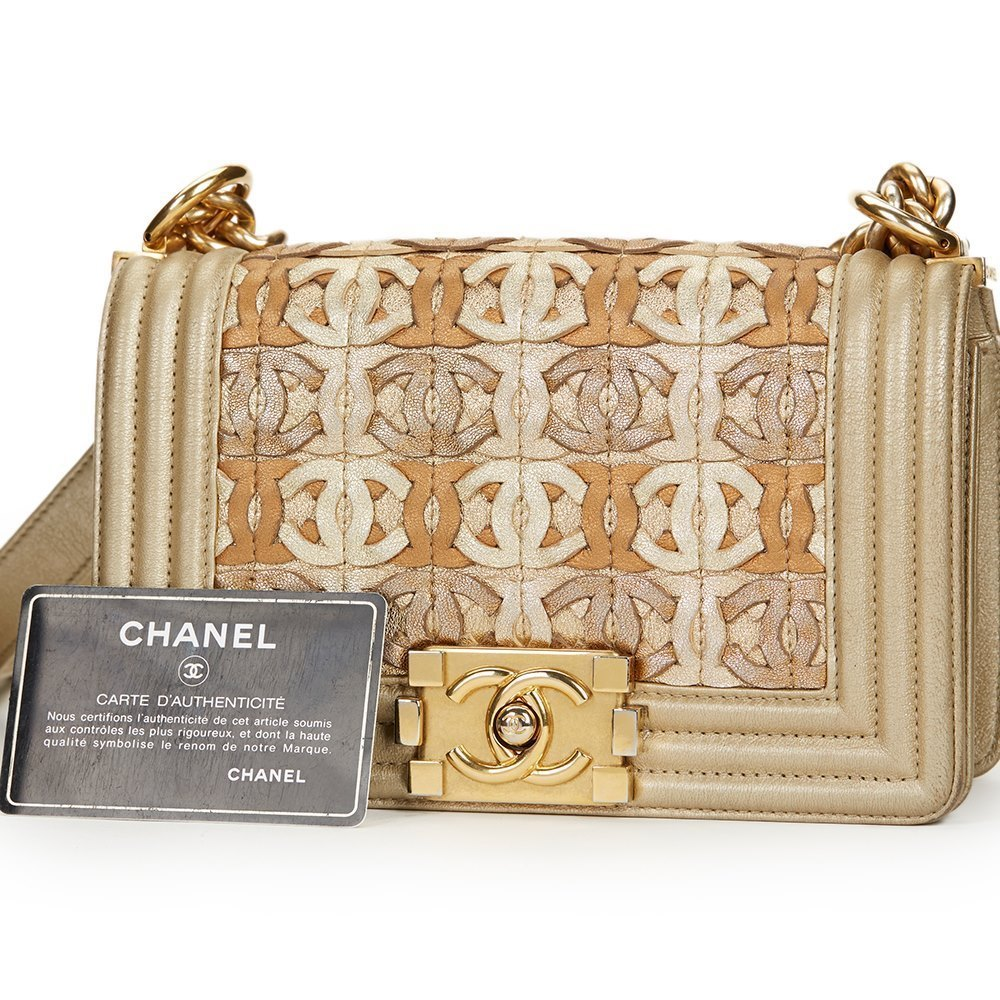 e32427279f9f5a Chanel Light Gold Metallic Lambskin Interwoven CC Small Le Boy Bag