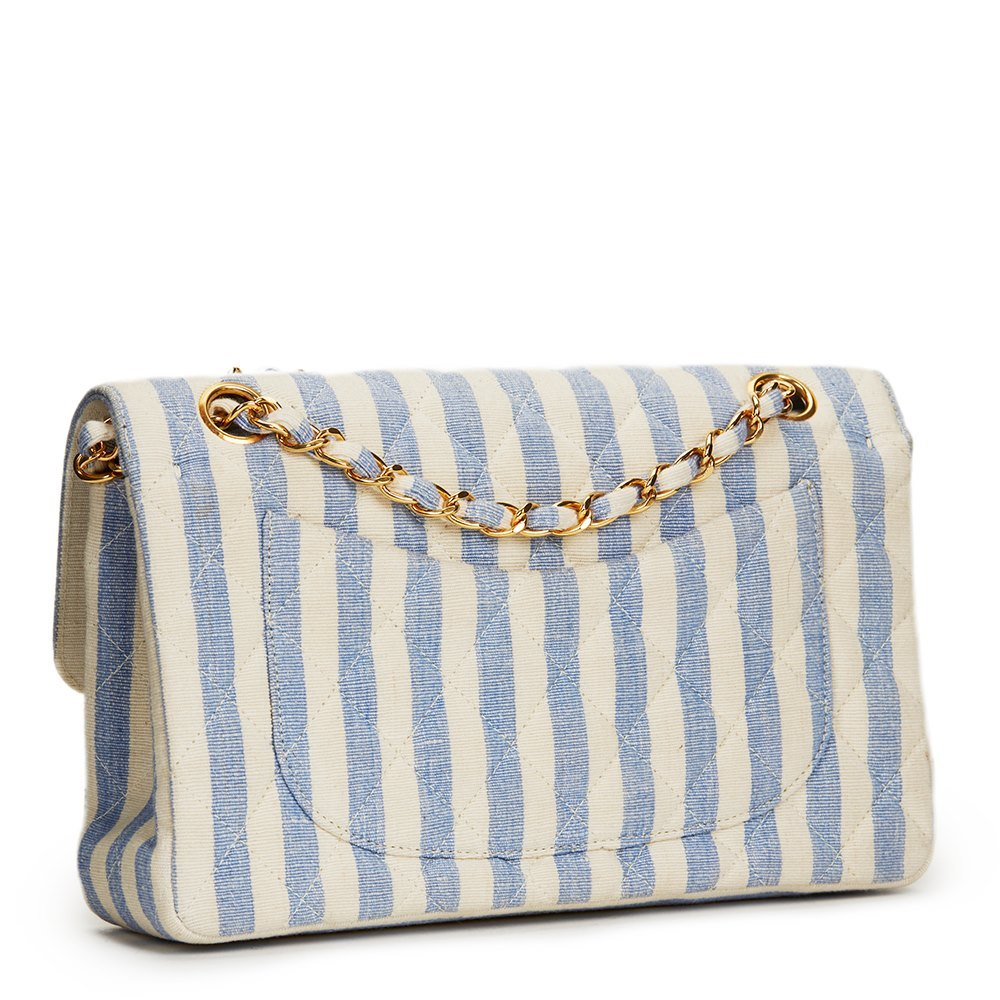 468bdae81ad3 Chanel Ivory   Blue Striped Linen Vintage Small Classic Double Flap Bag
