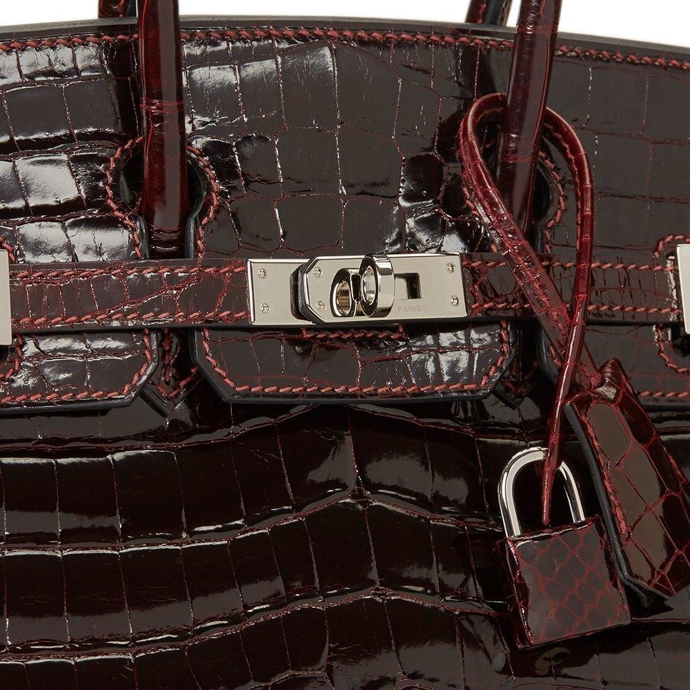 516cf91e54 Hermès Bordeaux Shiny Niloticus Crocodile Leather Birkin 25cm