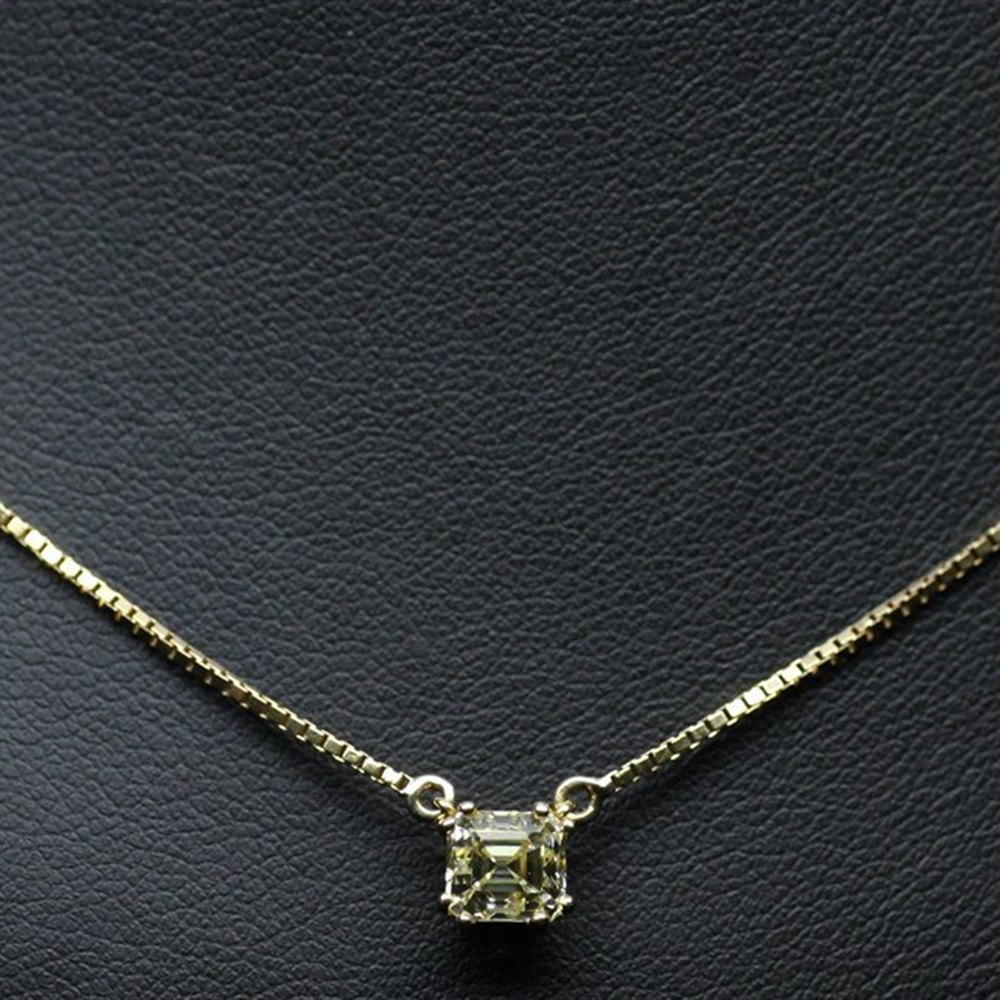 Mappin & Webb 18K Yellow Gold Emerald Cut Fancy Yellow Diamond Pendant Necklace