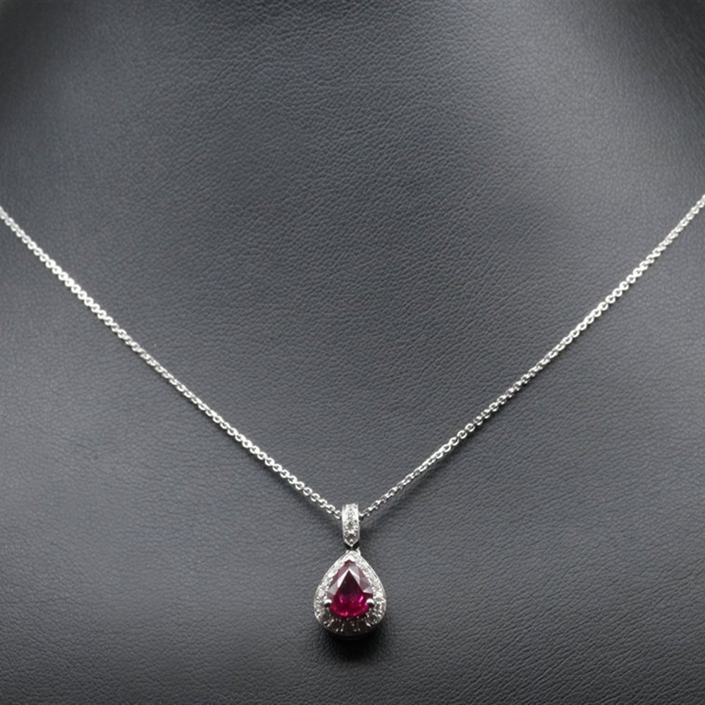 Mappin & Webb 18K White Gold Pear Cut Natural Ruby & Diamond Pendant Necklace