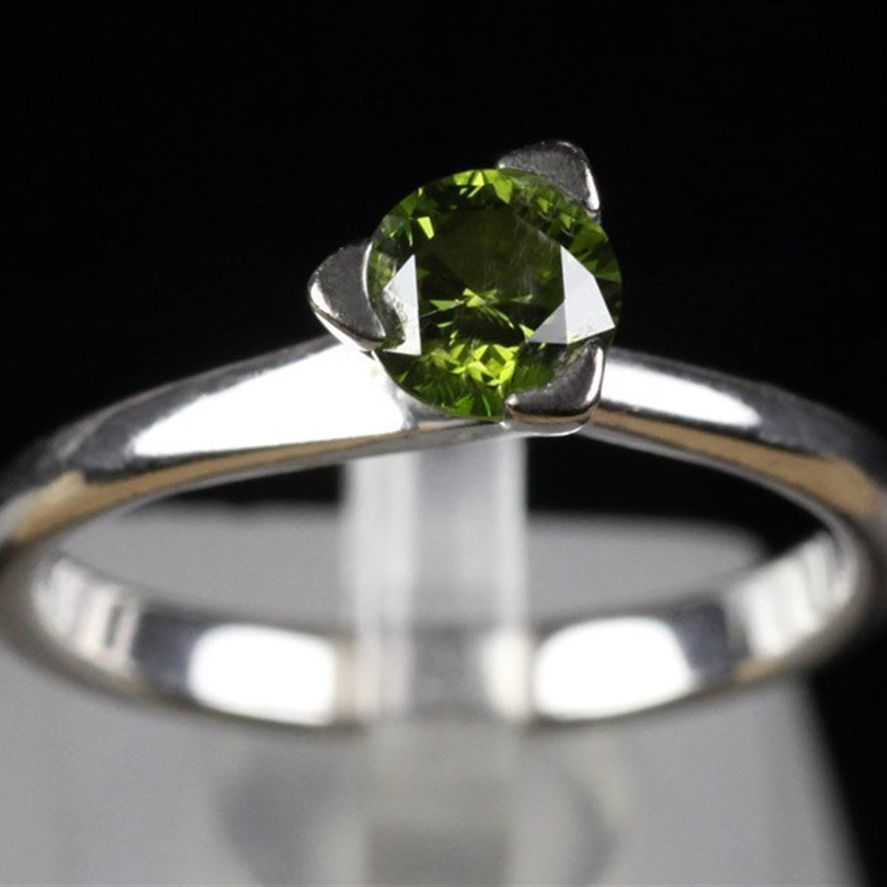 De Leon 18K White Gold Rare Green Diamond Ring