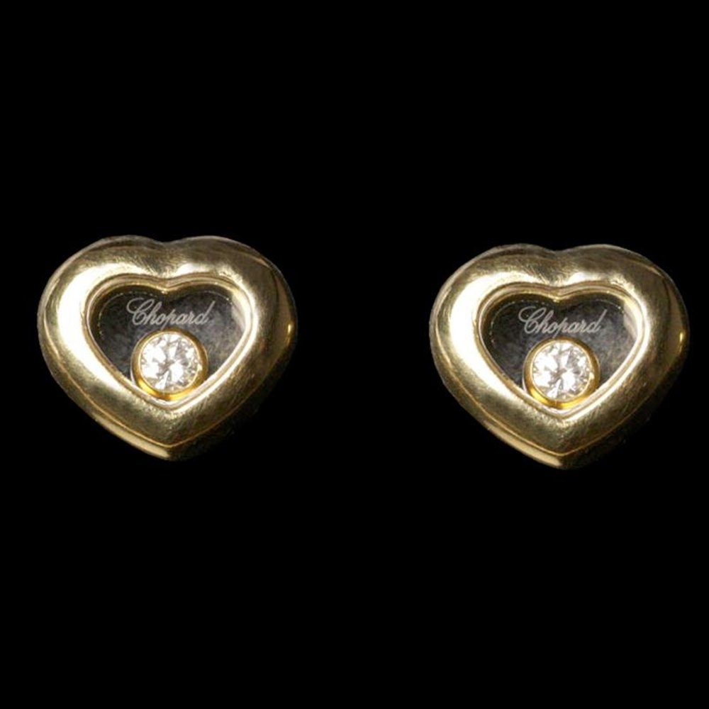 Chopard 18K Gold Happy Diamonds Heart Shaped Earrings