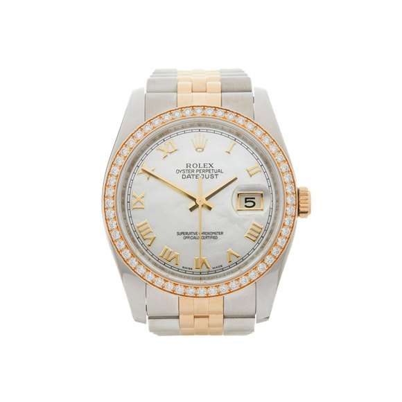 Rolex DateJust 36 Mother of Pearl Diamond Stainless Steel & Yellow Gold - 116243