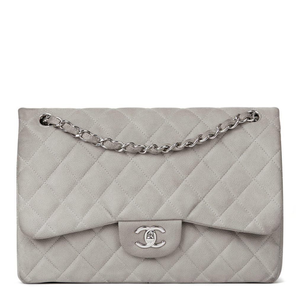 af5e527646a767 Chanel Jumbo Classic Double Flap Bag 2012 HB1157 Second Hand Handbags Chanel  Grey Quilted ...