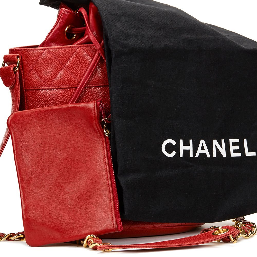 b0725b8dd374 Chanel Red Quilted Caviar Leather Vintage Bucket Bag