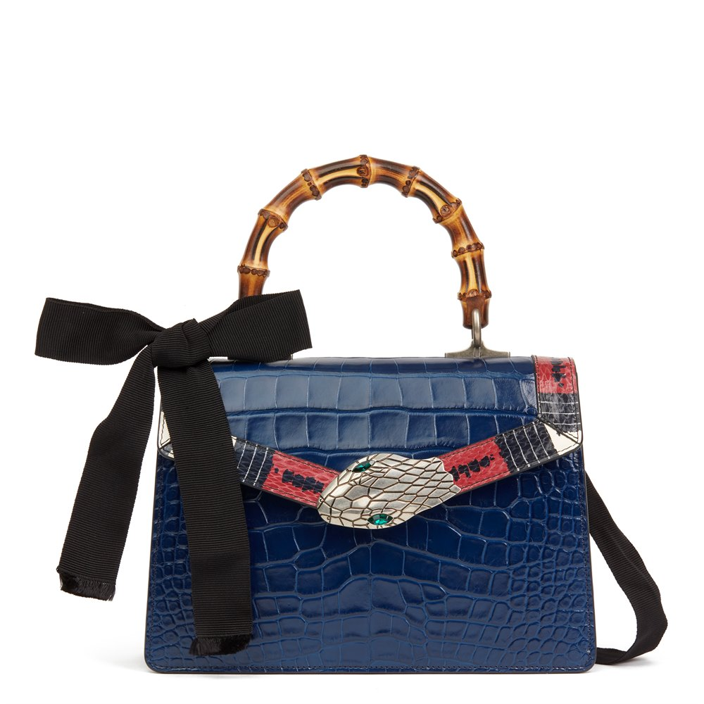 6a6fe455a70325 Gucci Blue Alligator Leather & Snakeskin Trim Small Lilith Top Handle Bag