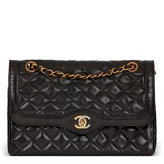 Chanel Black Quilted Lambskin Vintage Medium Paris Limited Double Flap Bag