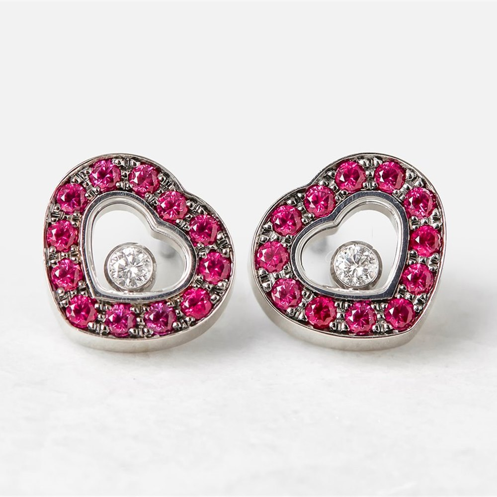 Chopard 18k White Gold Happy Diamonds Ruby Stud Earrings