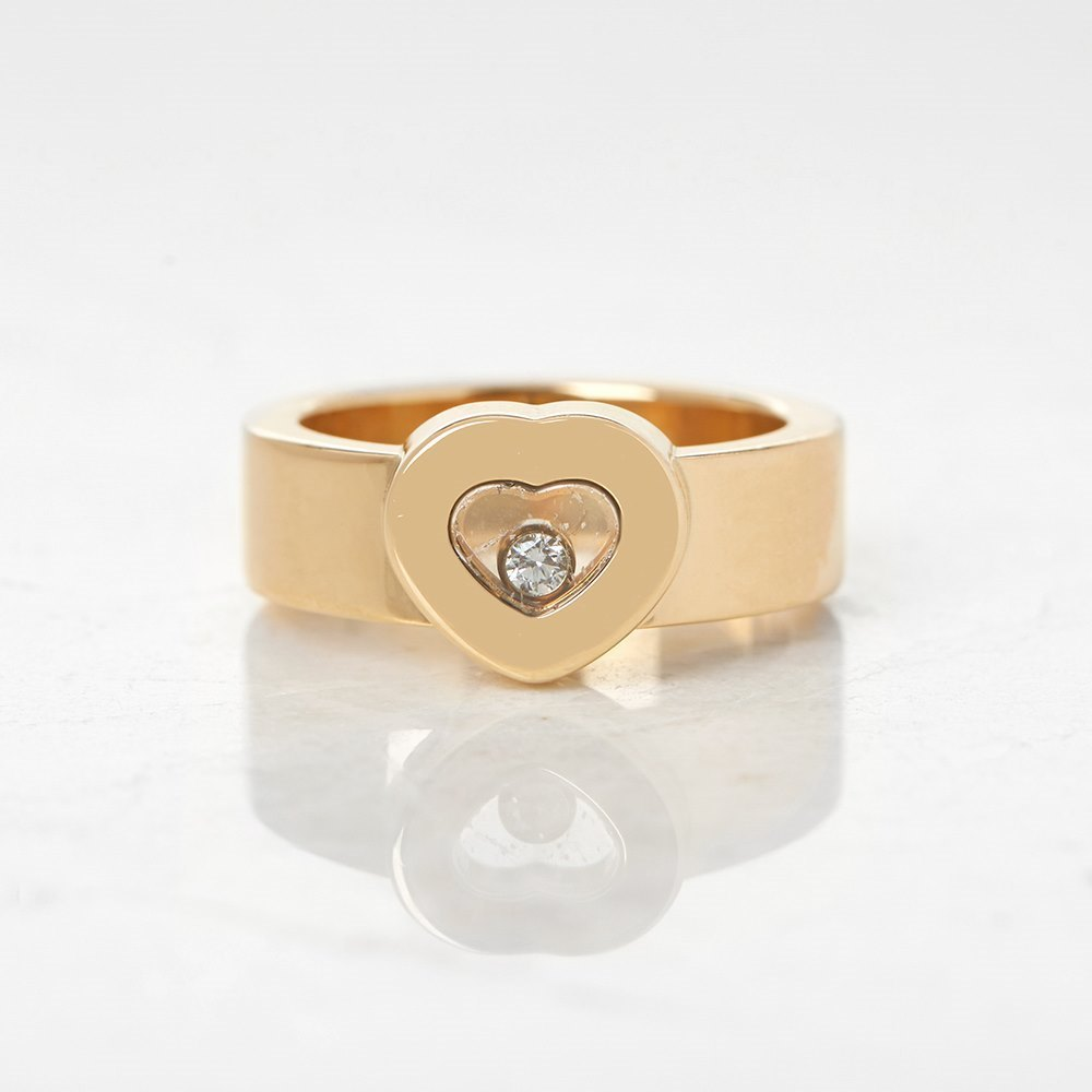 Chopard 18k Yellow Gold Heart Happy Diamonds Ring Size M.5