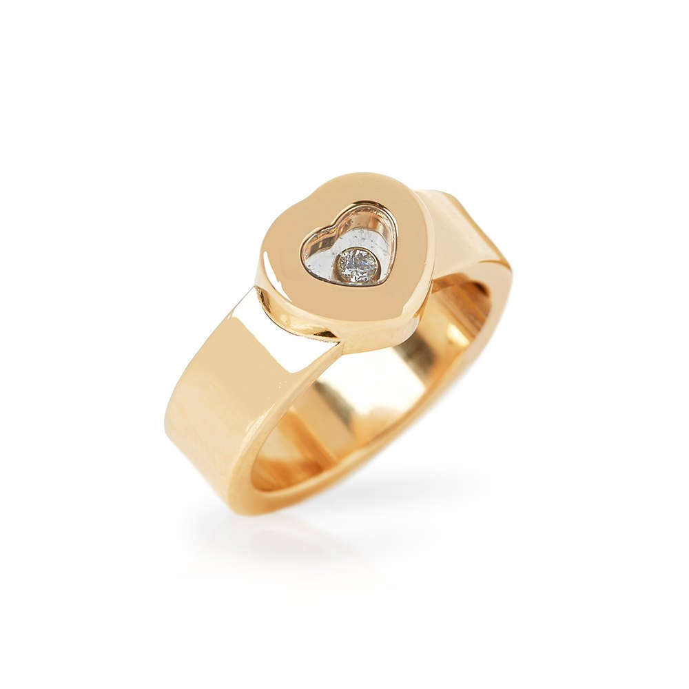 Chopard 18k Yellow Gold Heart Happy Diamonds Ring