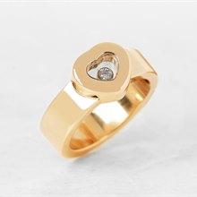Chopard 18k Yellow Gold Heart Happy Diamonds Ring Size M.5