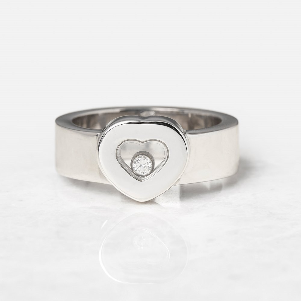 Chopard 18k White Gold Heart Happy Diamonds Ring Size M.5