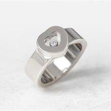 Chopard 18k White Gold Heart Happy Diamonds Ring Size M.5