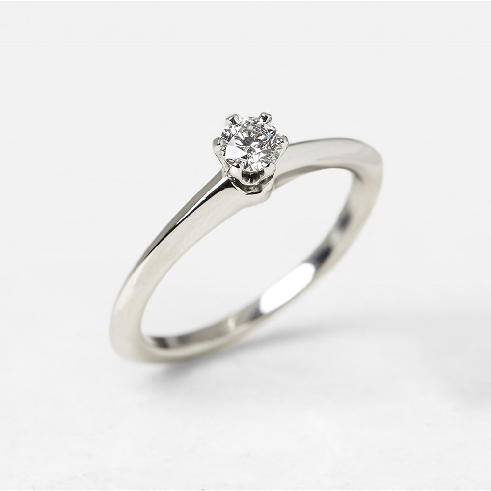 21f81e9150bb Tiffany   Co. Platinum 0.20ct Diamond Engagement Ring COM1153 ...