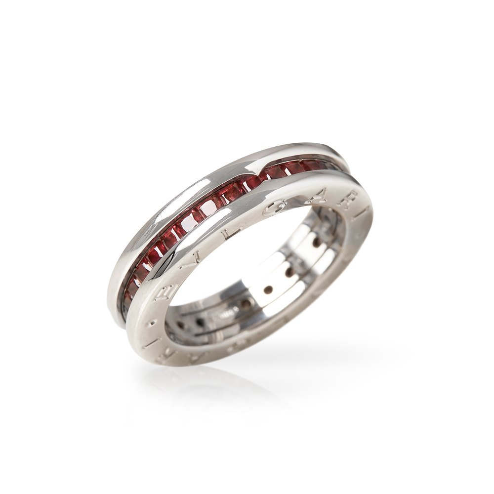 Bulgari 18k White Gold Garnet B.Zero 1 Ring