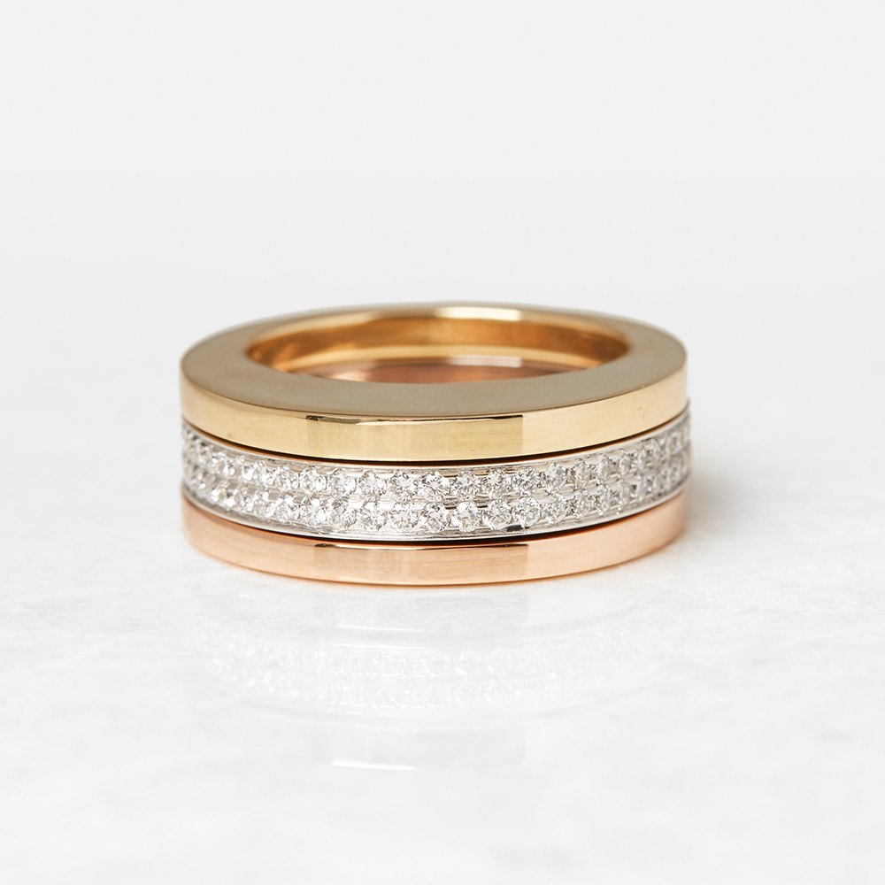 Tiffany & Co. 18k White, Rose & Yellow Gold Stackable Rings